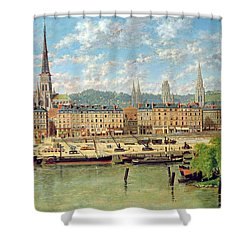 The Port At Rouen Shower Curtain by Torello Ancillotti