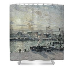 The Port Of Rouen Shower Curtain by Camille Pissarro