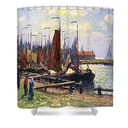 The Port Of Volendam Shower Curtain by Henry Moret
