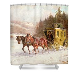 The Post Coach In The Snow Shower Curtain by Fritz van der Venne