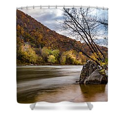 The Potomac In Autumn Shower Curtain by Ed Clark