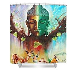 Shower Curtain featuring the photograph The Power Of Buddha by Ragunath Venkatraman
