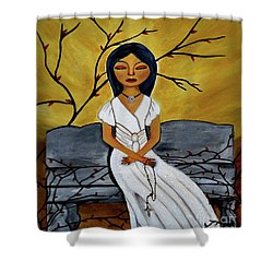 Shower Curtain featuring the painting The Power Of The Rosary Religious Art By Saribelle by Saribelle Rodriguez