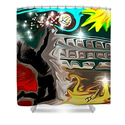 Shower Curtain featuring the digital art The Power Of Volleyball by Darren Cannell