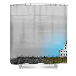 The Powerful  Lighthouse On Lake Michigan Shower Curtain