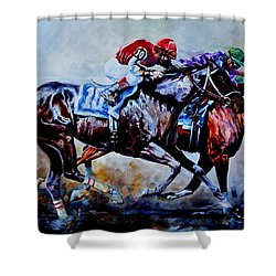 Shower Curtain featuring the painting The Preakness Stakes by Hanne Lore Koehler