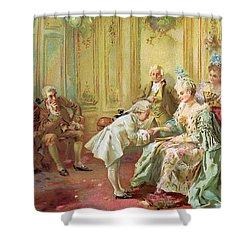 The Presentation Of The Young Mozart To Mme De Pompadour At Versailles Shower Curtain by Vicente de Parades
