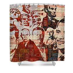 The Presidents Past Recycled Vintage License Plate Art Collage Shower Curtain