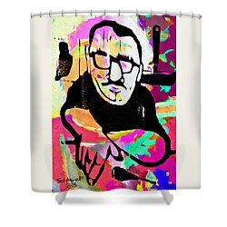 Shower Curtain featuring the digital art The Printmaker by Ted Azriel