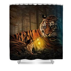 The Protector Shower Curtain by Davandra Cribbie
