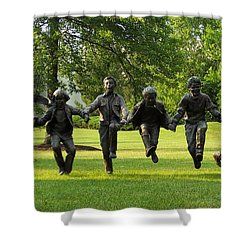 The Puddle Jumpers At Byers Choice Shower Curtain by Trish Tritz