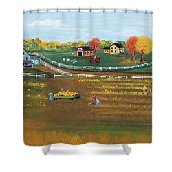 The Pumpkin Patch Shower Curtain by Virginia Coyle