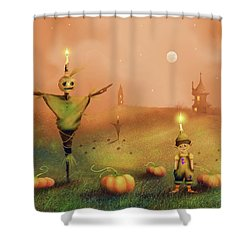 The Pumpkin Thief Shower Curtain