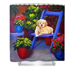 The Puppy In The Garden Shower Curtain