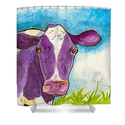 The Purple Cow Shower Curtain by Whitney Morton