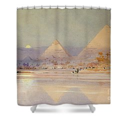 The Pyramids At Dusk Shower Curtain by Augustus Osborne Lamplough