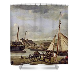 The Quay At Rouen Shower Curtain by Jean Baptiste Camille Corot