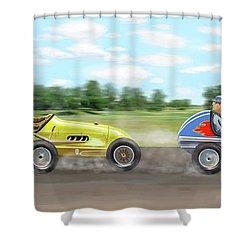 Shower Curtain featuring the digital art The Racers by Gary Giacomelli