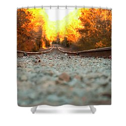 Shower Curtain featuring the digital art The Railroad Tracks From A New Perspective by Chris Flees