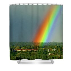 Shower Curtain featuring the photograph The Rainbow Apartments by Ben Upham III