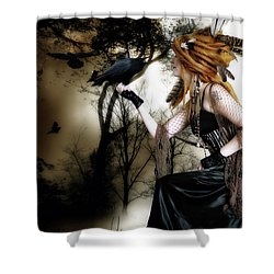 Shower Curtain featuring the digital art The Raven by Shanina Conway
