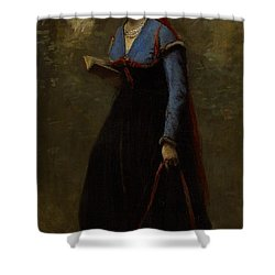 The Reader Shower Curtain by Jean Baptiste Camille Corot