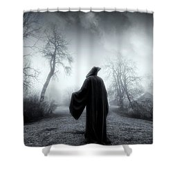 The Reaper Moving Through Mist And Fog Shower Curtain by Christian Lagereek