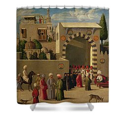 The Reception Of Domenico Trevisani In Cairo Shower Curtain by Italian School