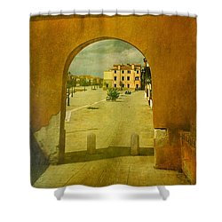 Shower Curtain featuring the photograph The Red Archway by Anne Kotan