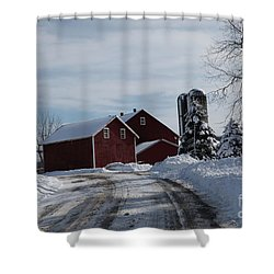 The Red Barn In The Snow Shower Curtain
