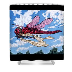 Shower Curtain featuring the painting The Red Baron by Paxton Mobley