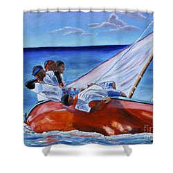 The Red Boat Shower Curtain