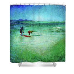 Shower Curtain featuring the painting The Red Boogey Board by Angela Treat Lyon