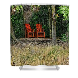 Shower Curtain featuring the photograph The Red Chairs by Deborah Benoit