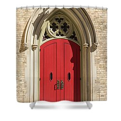 The Red Church Door. Shower Curtain