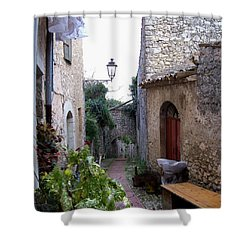 The Red Door Shower Curtain by Judy Kirouac