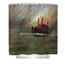 Shower Curtain featuring the photograph The Red Fishing Boat by LemonArt Photography