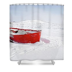 The Red Fishing Boat Shower Curtain