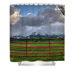 Shower Curtain featuring the photograph The Red Gate by Douglas Stucky