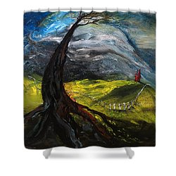 The Red House Shower Curtain by Antonio Ortiz