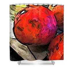 The Red Pomegranates On The Marble Chopping Board Shower Curtain