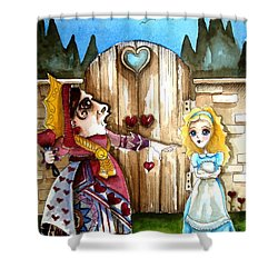 The Red Queen Shower Curtain by Lucia Stewart