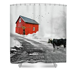 The Red Red Barn Shower Curtain