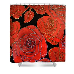 The Red Red Roses Shower Curtain