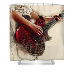 The Red Tour Guitar Shower Curtain