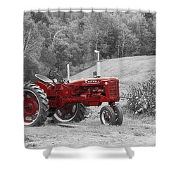 The Red Tractor Shower Curtain by Aimelle