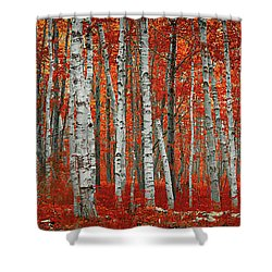 The Red Trees Shower Curtain
