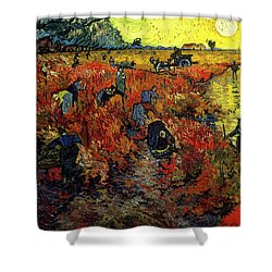Shower Curtain featuring the painting The Red Vineyard At Arles by Van Gogh