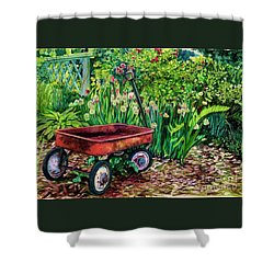 The Red Wagon Shower Curtain