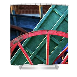 The Red Wagon Wheel Shower Curtain